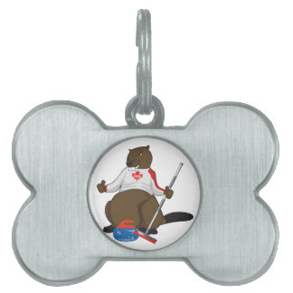 Canada 150 in 2017 Curling Beaver Merchandise Pet ID Tag