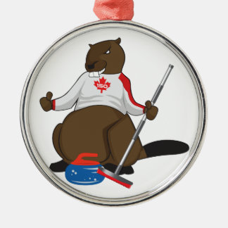 Canada 150 in 2017 Curling Beaver Merchandise Silver-Colored Round Ornament