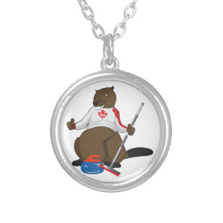 Canada 150 in 2017 Curling Beaver Merchandise Silver Plated Necklace