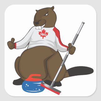 Canada 150 in 2017 Curling Beaver Merchandise Square Sticker