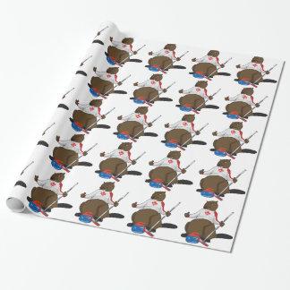 Canada 150 in 2017 Curling Beaver Merchandise Wrapping Paper