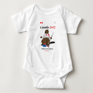 Canada 150 in 2017 Curling Button Baby Bodysuit