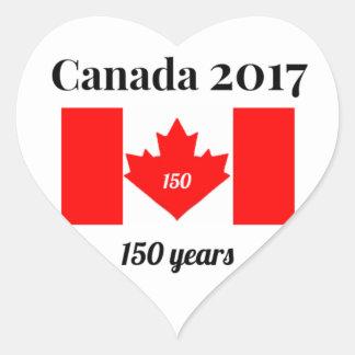 Canada 150 in 2017 Heart Flag Heart Sticker