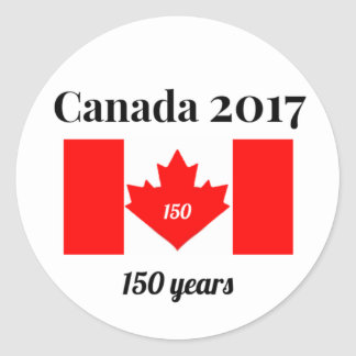 Canada 150 in 2017 Heart Flag Round Sticker