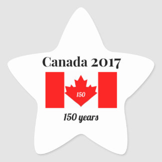 Canada 150 in 2017 Heart Flag Star Sticker