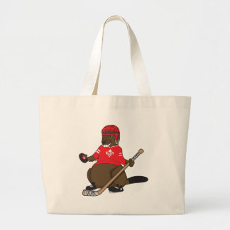 Canada 150 in 2017 Hockey Beaver Large Tote Bag