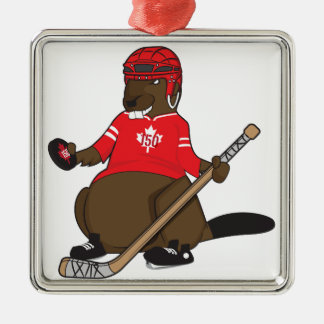 Canada 150 in 2017 Hockey Beaver Metal Ornament