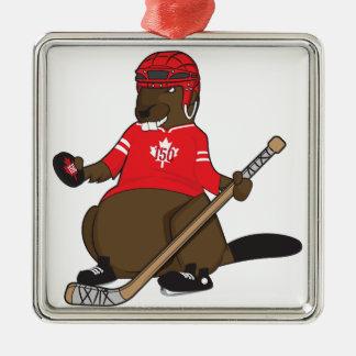 Canada 150 in 2017 Hockey Beaver Silver-Colored Square Ornament