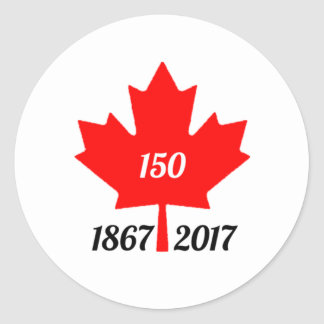 Canada 150 in 2017 maple leaf round sticker