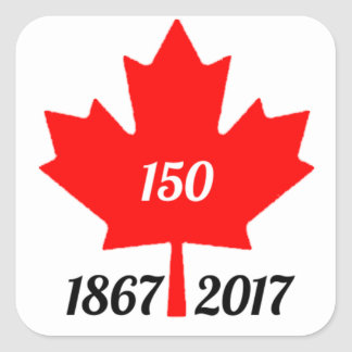 Canada 150 in 2017 maple leaf square sticker