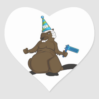 Canada 150 in 2017 Party Beaver Merchandise Heart Sticker