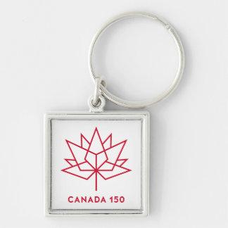 Canada 150 Logo Silver-Colored Square Keychain