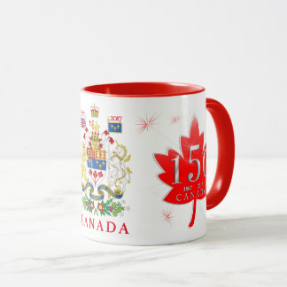 Canada 150 Maple Leaf Fireworks Coat of Arms Mug
