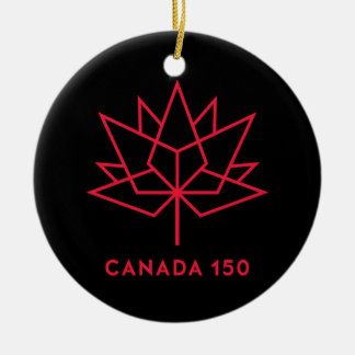 Canada 150 Official Logo - Black and Red Ceramic Ornament
