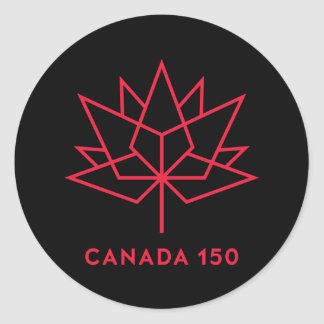 Canada 150 Official Logo - Black and Red Classic Round Sticker