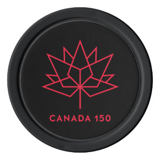 Canada 150 Official Logo - Black and Red Poker Chips