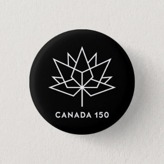 Canada 150 Official Logo - Black and White 1 Inch Round Button