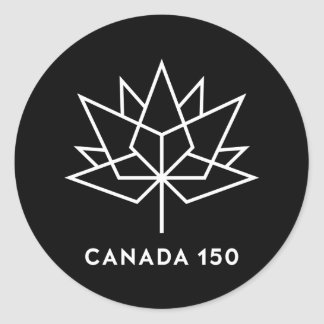 Canada 150 Official Logo - Black and White Classic Round Sticker