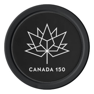 Canada 150 Official Logo - Black and White Set Of Poker Chips