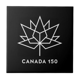 Canada 150 Official Logo - Black and White Tile