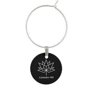 Canada 150 Official Logo - Black and White Wine Charm