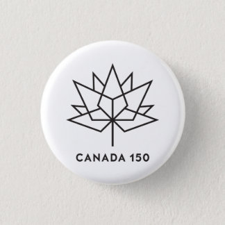 Canada 150 Official Logo - Black Outline 1 Inch Round Button