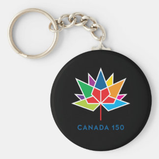 Canada 150 Official Logo - Multicolor and Black Basic Round Button Keychain