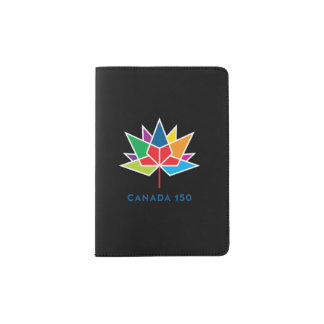 Canada 150 Official Logo - Multicolor and Black Passport Holder
