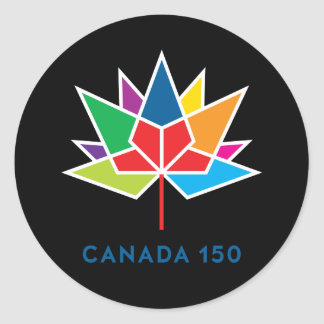 Canada 150 Official Logo - Multicolor and Black Round Sticker