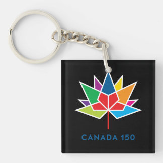 Canada 150 Official Logo - Multicolor and Black Single-Sided Square Acrylic Keychain