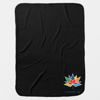 Canada 150 Official Logo - Multicolor and Black Swaddle Blanket