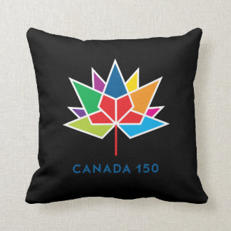 Canada 150 Official Logo - Multicolor and Black Throw Pillow