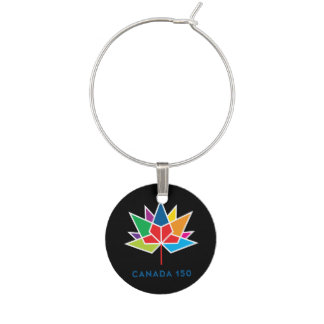 Canada 150 Official Logo - Multicolor and Black Wine Glass Charms