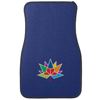 Canada 150 Official Logo - Multicolor and Blue Car Mat