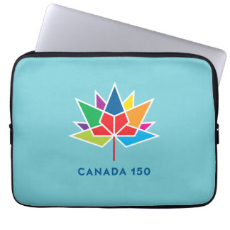 Canada 150 Official Logo - Multicolor and Blue Laptop Sleeve