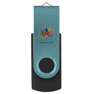 Canada 150 Official Logo - Multicolor and Blue USB Flash Drive