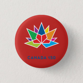 Canada 150 Official Logo - Multicolor and Red 1 Inch Round Button