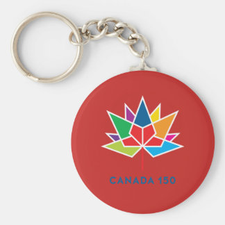 Canada 150 Official Logo - Multicolor and Red Basic Round Button Keychain