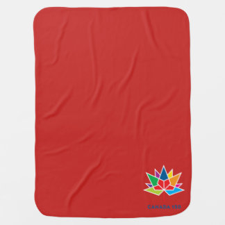 Canada 150 Official Logo - Multicolor and Red Receiving Blanket