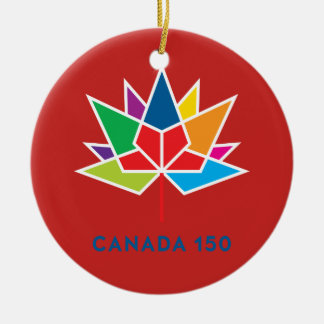 Canada 150 Official Logo - Multicolor and Red Round Ceramic Ornament
