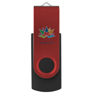 Canada 150 Official Logo - Multicolor and Red Swivel USB 2.0 Flash Drive