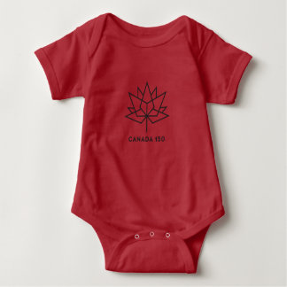 Canada 150 Official Logo - Red and Black Baby Bodysuit