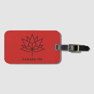 Canada 150 Official Logo - Red and Black Bag Tag