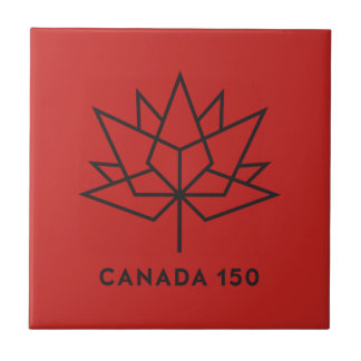 Canada 150 Official Logo - Red and Black Ceramic Tile