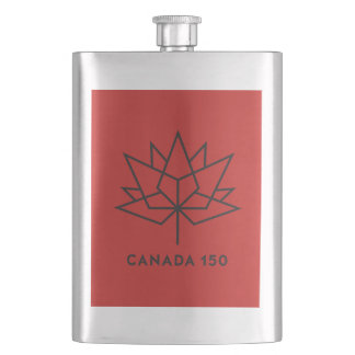 Canada 150 Official Logo - Red and Black Hip Flask
