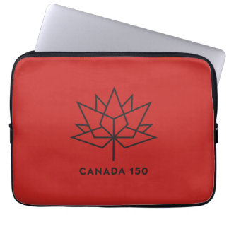 Canada 150 Official Logo - Red and Black Laptop Sleeve