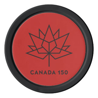 Canada 150 Official Logo - Red and Black Poker Chips