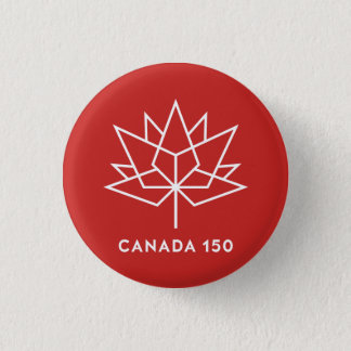 Canada 150 Official Logo - Red and White 1 Inch Round Button