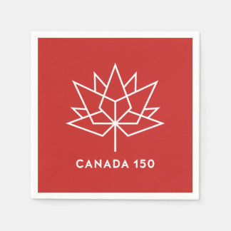 Canada 150 Official Logo - Red and White Paper Napkin