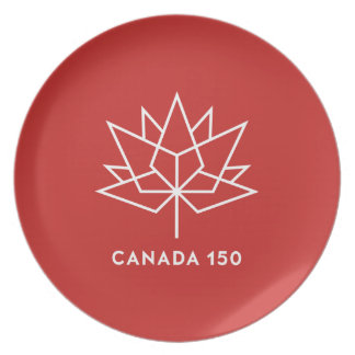 Canada 150 Official Logo - Red and White Plate